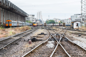 Train track just outside Hualumphong Train Station Bangkok